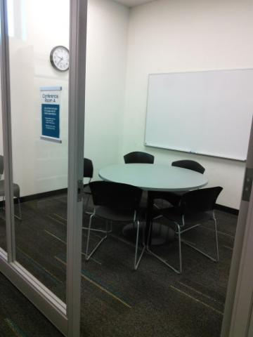 Glass-walled meeting room
